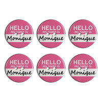 Monique Hello My Name Is Plastic Resin Button Set of 6