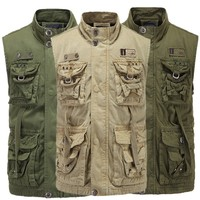 Cargo Style Men Vest Casual Male Waistcoat Many Pockets Multi-Function Army Green Outwear Waist Coat Military Moutain Clothes