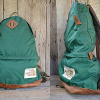 Vintage 70's The North Face Leather Bottom Tear Drop Rucksack Daypack Backpack