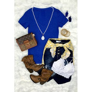 BASIC SHORT SLEEVE DEEP V-NECK TEE - ROYAL