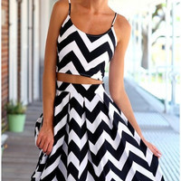 Fashion Wave Stripe Sleeveless  Dress