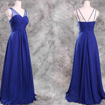 Blue Beading Chiffon Long Prom Dresses,Plus size prom dresses,plus size bridesmaid dresses,bridesmaid dress,prom dress,prom dresses,party dr