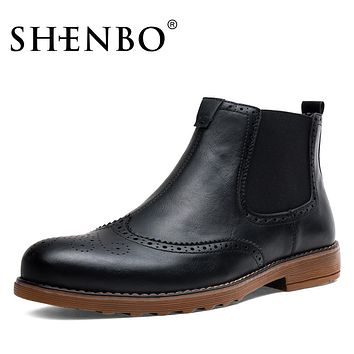 Style Chelsea Boots,  Slip On Men Boots, Fashion Brogue Men Ankle Boots