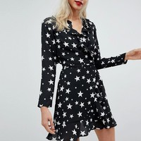 ASOS Star Print Ruffle Wrap Mini Dress at asos.com