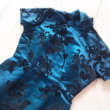 Dark Blue And Black Velvet Burnout Asian Dress