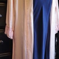 Filiz Damar Couture Pink Silk Robe Victoria's Secret Navy Gown Silk M Imperfect