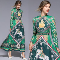Givenchy The latest fashionable printed long skirt retro positioning dress