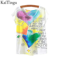 KaiTingu 2015 New Fashion Vintage Spring Summer T Shirt Women Tops Print T-shirt Heart Letter Printed White Woman Clothes