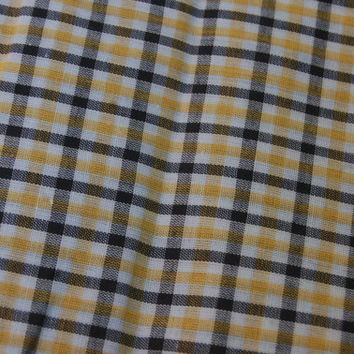 """Vintage Black White and Yellow Plaid Checked Fabric 2yds. x 45"""" wide"""