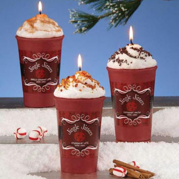 6 Latte Christmas Candles - Peppermint Mocha, Gingerbread, Vanilla Cinnamon Scented