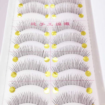 10 Pairs Women False Eyelashes Black Handmade Long Thick Natural Fake Eye Lashes Extension Makeup Beauty Tools