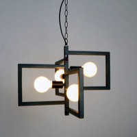 Black Vintage Barn Metal Hanging Ceiling Pendant Light With 4 Lights