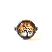 Tree of Life, Ring, Yoga, Jewellery, Adjustable, Earthy, Autumn, Fall, Leaves, Leaf, Kabbalah, Wisdom, Stocking Stuffer, Christmas