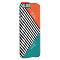Monogram Tangerin Tango Teal Black & White Stripes Barely There iPhone 6 Case