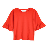 Jersey Flounce-sleeved Top - from H&M