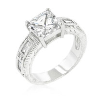 Clear Cubic Zirconia 5-stone Ring, size : 09