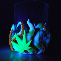 Cannabis Octopus Votive Candle Holders-blue/green - 4/20, gift for him, medical marijuana, cool, birthday, men, weed pot, unique