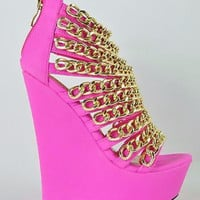 "Caked Up Fuchsia Pink Multiple Chain Platform Wedge Shoes - 6"" Heel"