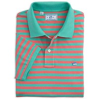 Yacht Stripe Skipjack Polo in Bermuda Teal and Coral by Southern Tide