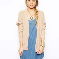 ASOS Cardigan With Top Pocket And Contrast Detail - Camel