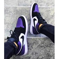 NIKE AJ AIR Jordan1 sneakers Basketball shoes  Low tops  black purple