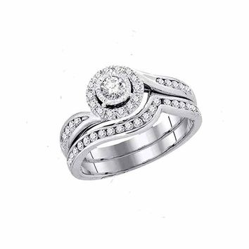 14kt White Gold Womens Round Diamond Swirl Bridal Wedding Engagement Ring Band Set 3/4 Cttw