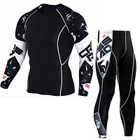 tactical mma rashguard long sleeves Men's fitness set compression clothing tracksuit for men T-shirt with a wolf XXXXL XXXL