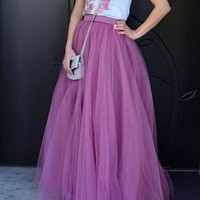 New Purple Grenadine High Waisted Tulle Tutu Plus Size Homecoming Party Elegant Long Skirt
