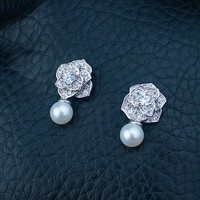 Pearls 925 Silver Floral Earring Accessory [7189067783]