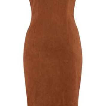 'Kyrene' Suedette Midi Dress - Tan