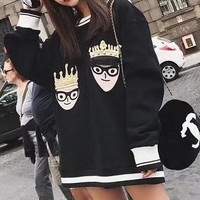 Dolce & Gabbana Women Men Couple Fashion Casual Embroidery Plus Velvet Top Sweater Pullover