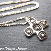 Recycled silver cross necklace woman artisan jewelry