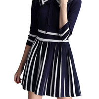 Navy College Knit Pleated Dress