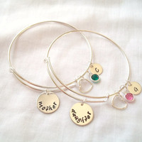 Alex and Ani Style Mother Daughter Bracelet Set ~ Personalized, Hand Stamped, Mother/Daughter, Mother's Day, Love ~ MADE TO ORDER