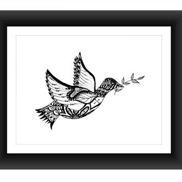 "Free Bird Pen and Ink Print 8"" x 10"", Home Decor Artwork - Hand Drawn Art, Zentangle, Wall Art"