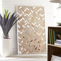 4FT Chevron Wood and Mirror Wall Art Panel