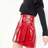 2017 Fashion Woman Red Shiny Faux Patent Leather Asymmetrical Mini Wrap Skirt High Waist Side Press Buckle