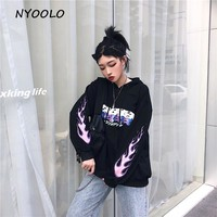 NYOOLO Autumn winter flame letters print hoody casual loose hoodies long sleeve pullovers hooded Sweatshirt women men clothing