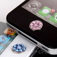 1PC Bling Crystal Swarovski Element Rhinestone Floral Apple iPhone Home Button Sticker, Cell Phone Charm, 4 Color Choice