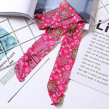 LV Louis Vuitton Tide Brand Female Letter Printing Multi-Purpose Small Scarf Rose Red