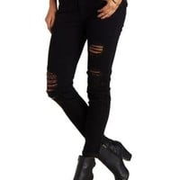 Black Destroyed Cuffed Low-Rise Skinny Jeans by Charlotte Russe
