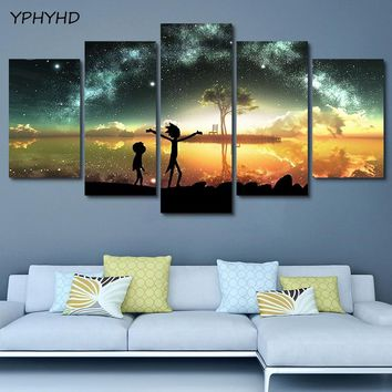 YPHYHD 5 Pieces Rick And Morty Poster Picture HD Home Starry Lake Art Decor for Kids Room Print Painting Canvas Wall Art Modern