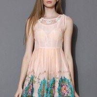 Spring Flowers Pink Embroidered Dress