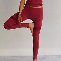 Free People Womens Lace Mix Yoga Pant - Rouge,