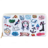 Character Print Clutch Zip Wallet
