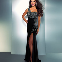Mac Duggal Prom 2013- Black And Silver One Shoulder Gown With Embellishments - Unique Vintage - Cocktail, Pinup, Holiday & Prom Dresses.