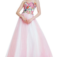 PRIMA 17-7637 Floral Embroidered Top Ballgown Prom Dress