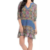 Floral And Paisley Print V-Neck Sleeve Dress