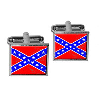 Confederate Southern Rebel Flag Distressed Square Cufflinks