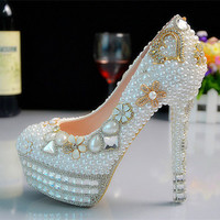 Embellished Stud pearl crystal pumps wedding shoes
